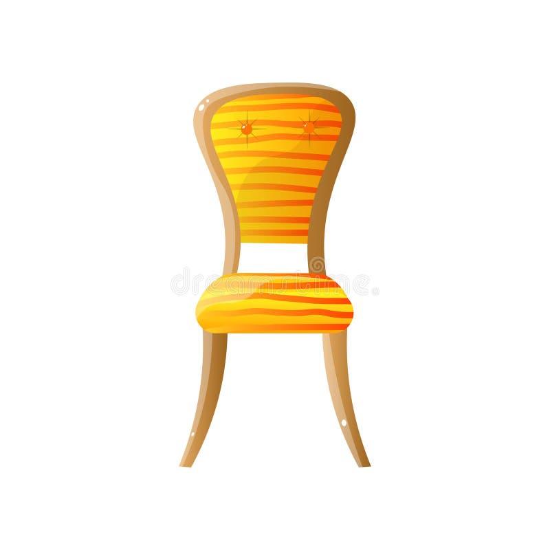 Домашний деревянный стул с оранжевым обнажанным драпированием бесплатная иллюстрация