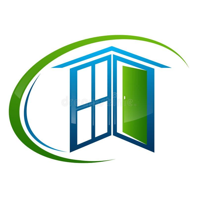 Домашний дизайн концепции дверной рамы окна Вектор элемента шаблона символа графический иллюстрация штока