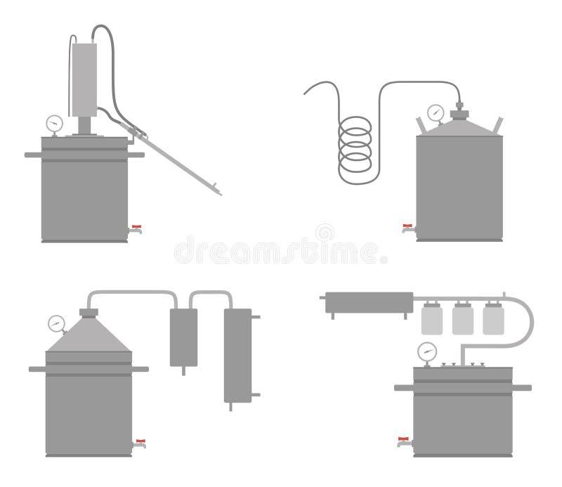 Домашний джин ванны машины спирта, apparatat hooch иллюстрация штока