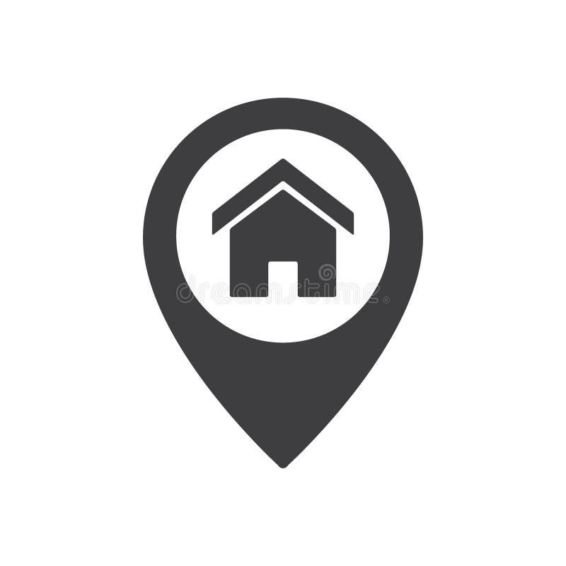 Домашний знак положения пункта Значок указателя карты дома иллюстрация штока