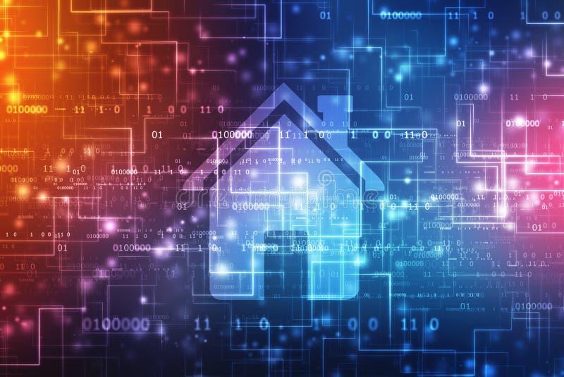 Домашний значок в цифровой предпосылке, умной домашней предпосылке концепции бесплатная иллюстрация