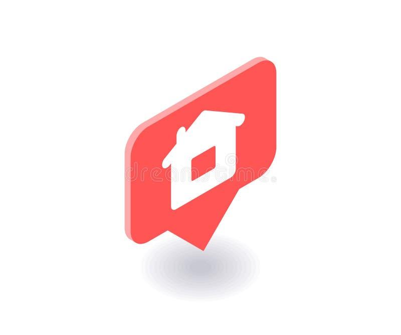 Домашний значок, символ вектора в плоском равновеликом стиле 3D изолированный на белой предпосылке Социальная иллюстрация средств иллюстрация вектора