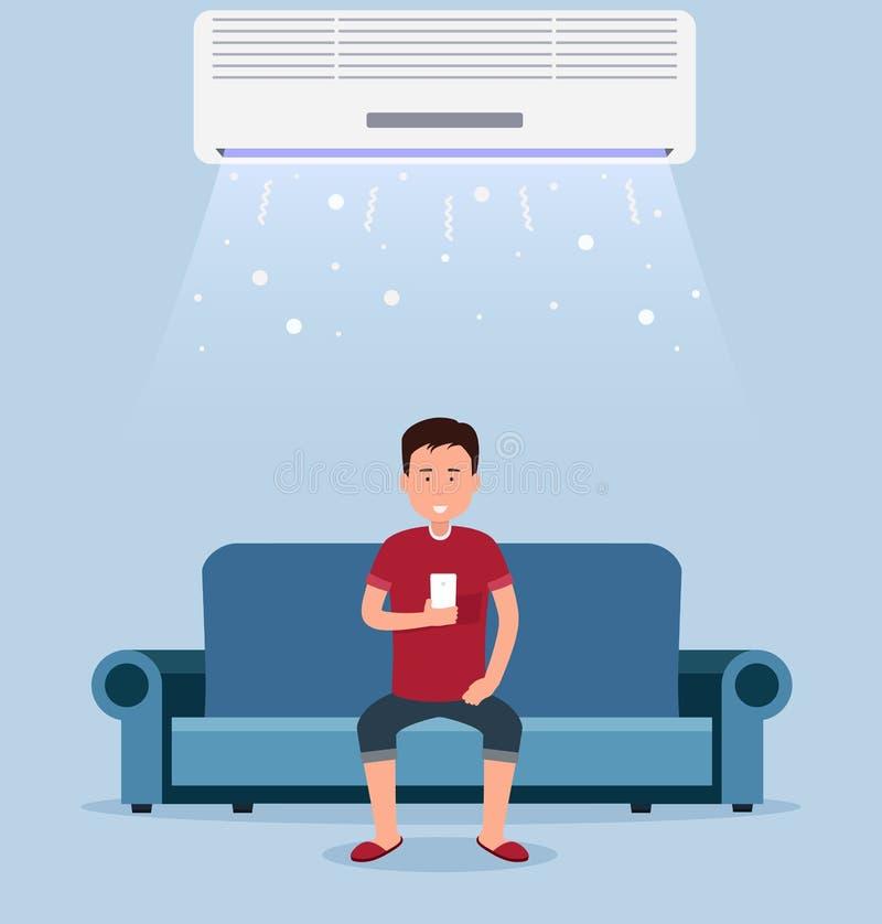 Домашний кондиционер, комната с охлаждать бесплатная иллюстрация