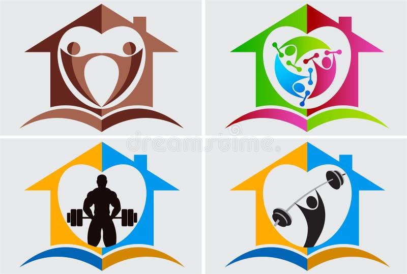 Домашний логос гимнастики бесплатная иллюстрация