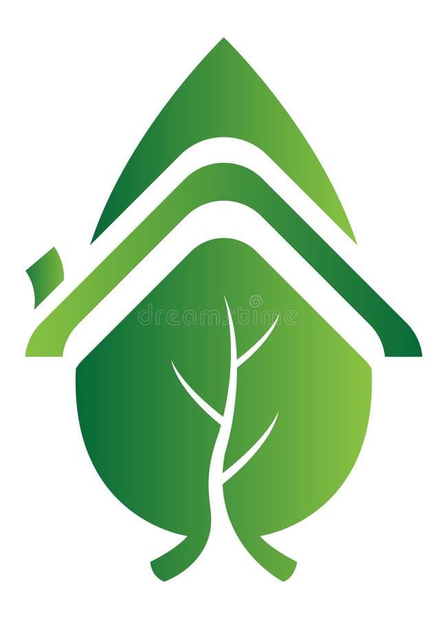 домашний логос листьев иллюстрация вектора