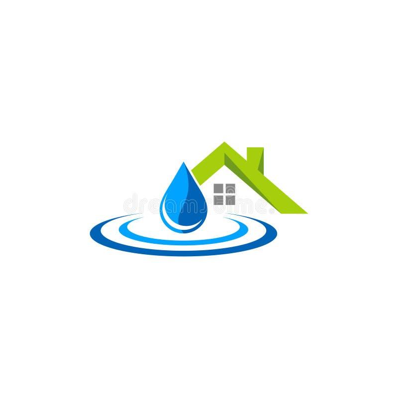 Домашний логотип вектора waterdrop стоковая фотография