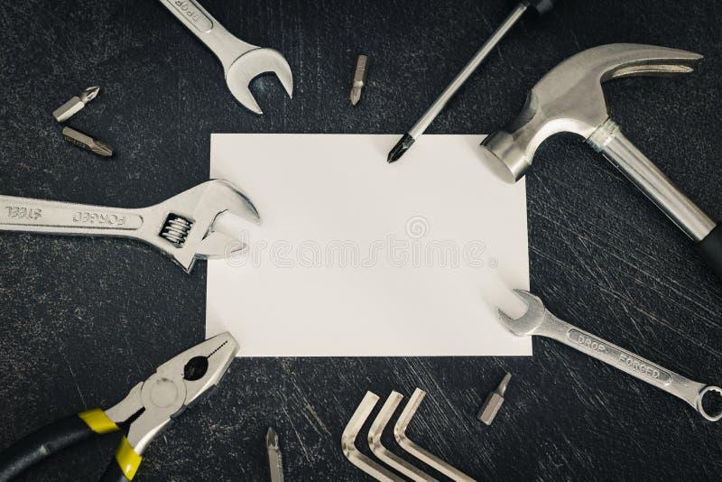 Домашний набор реновации инструментов и copyspace DIY для добавления ваших текста или логотипа стоковая фотография
