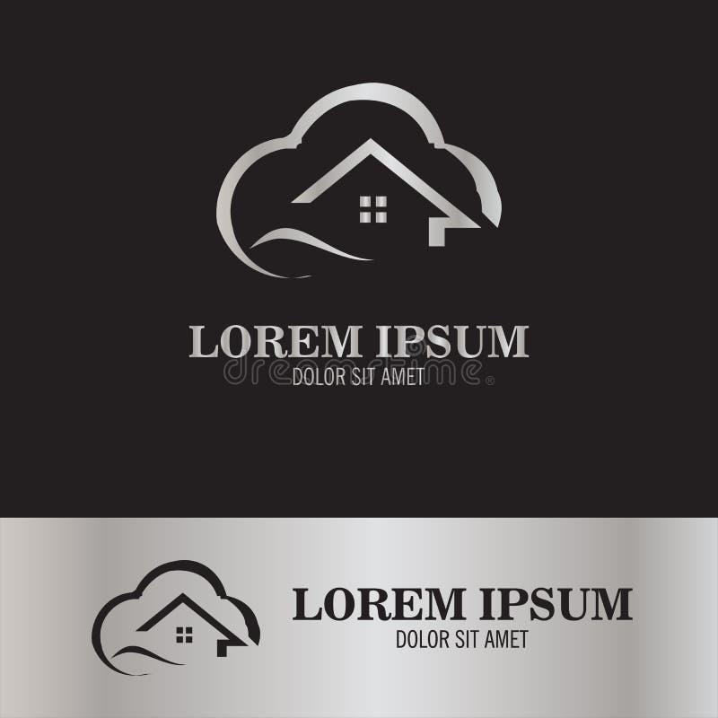 Домашний логотип облака иллюстрация вектора