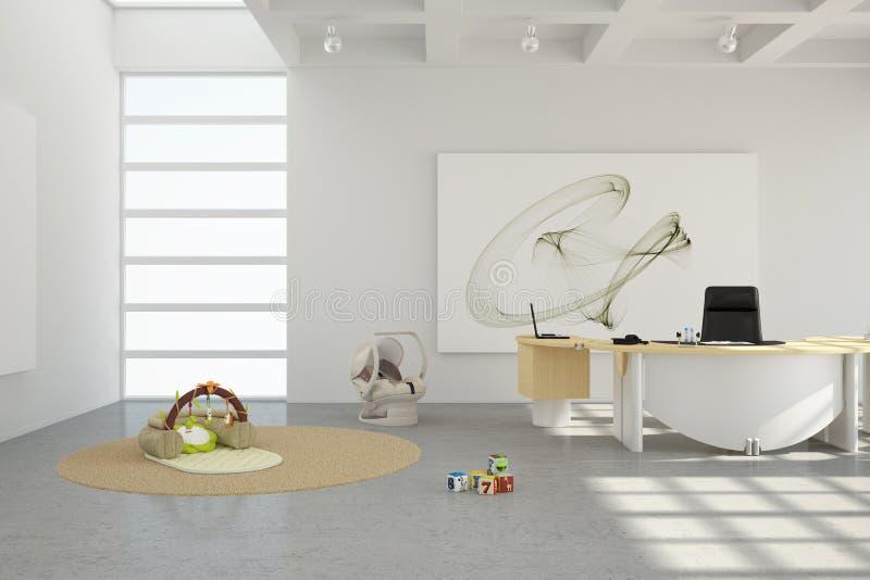 Домашний офис с игрушками бесплатная иллюстрация