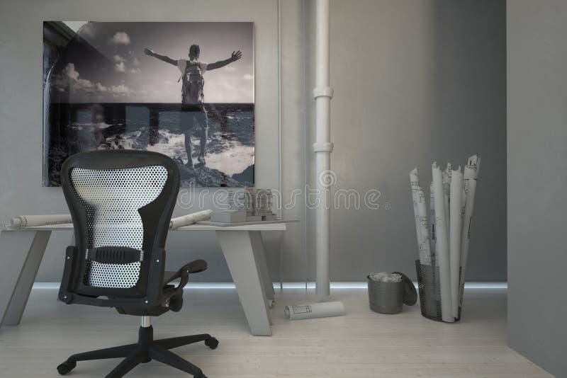 Домашний офис с корзиной светокопий на стороне иллюстрация вектора