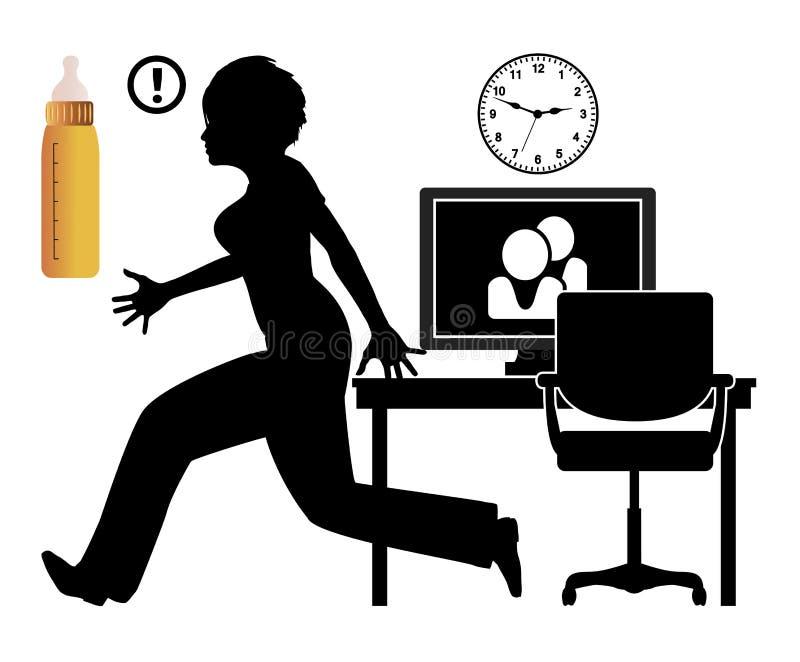 Домашний офис с младенцем иллюстрация вектора