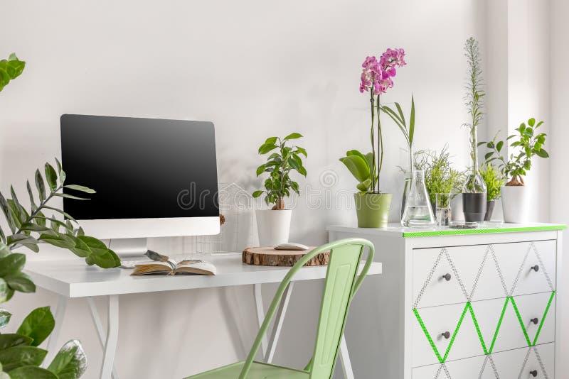 Домашний офис с commode и цветками иллюстрация вектора