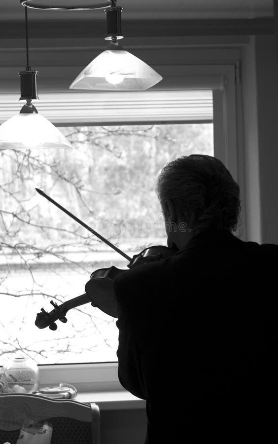 домашний практикуя скрипач стоковое фото rf