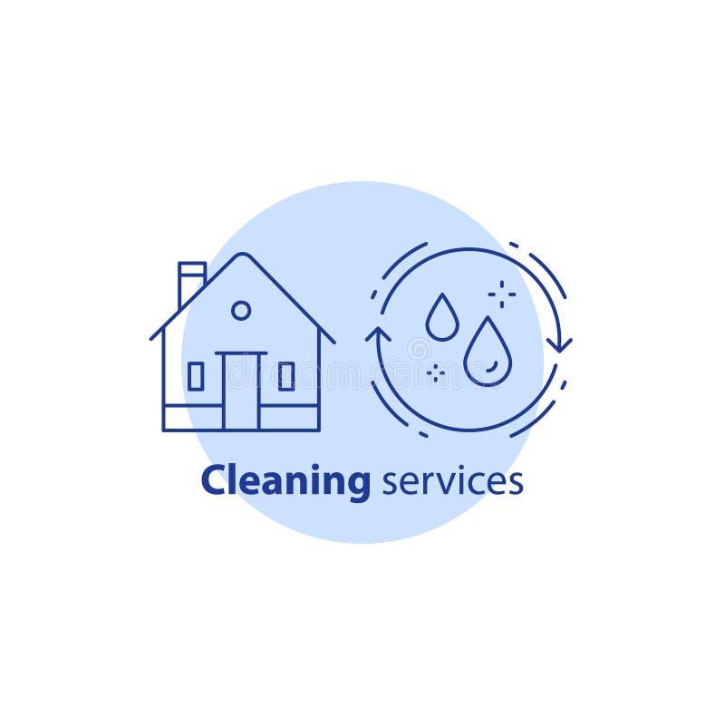 Домашний уборщик работы, уборки дома, концепция гигиены, домоустройство, значок хода вектора бесплатная иллюстрация
