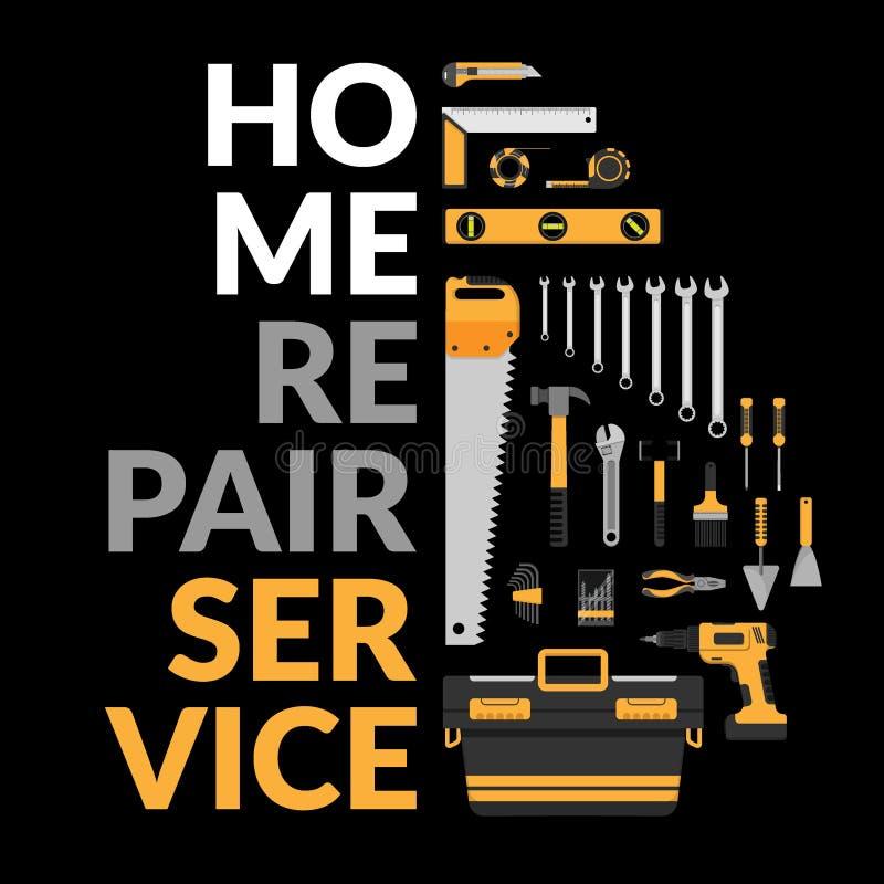 Домашний шаблон ремонтных услуг с комплектом DIY самонаводит инструменты деятельности ремонта домашние советовать с, реновация &  иллюстрация штока