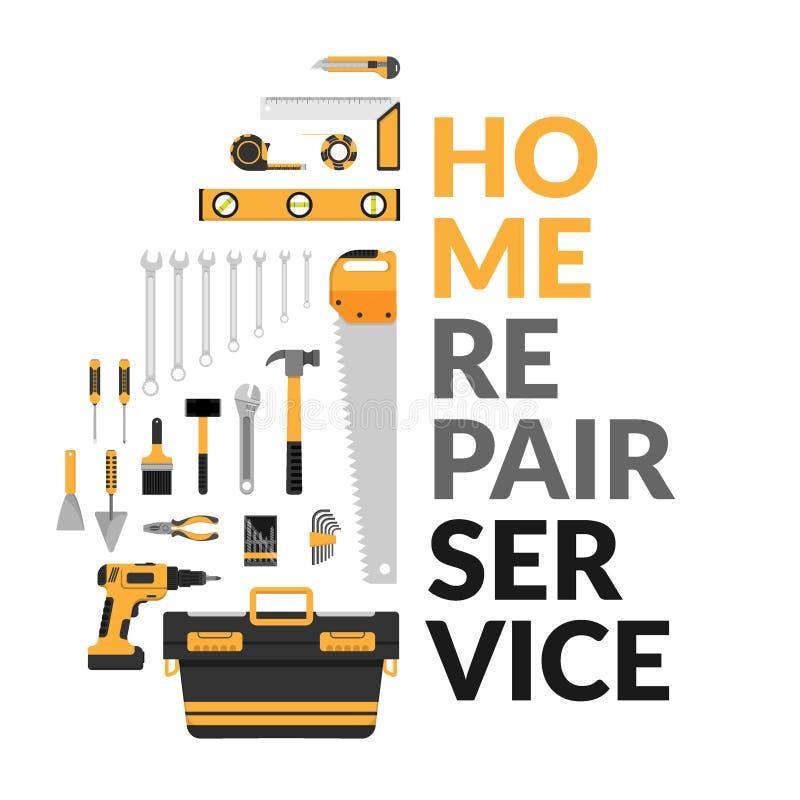 Домашний шаблон ремонтных услуг с комплектом DIY самонаводит инструменты деятельности ремонта домашние советовать с, реновация &  бесплатная иллюстрация