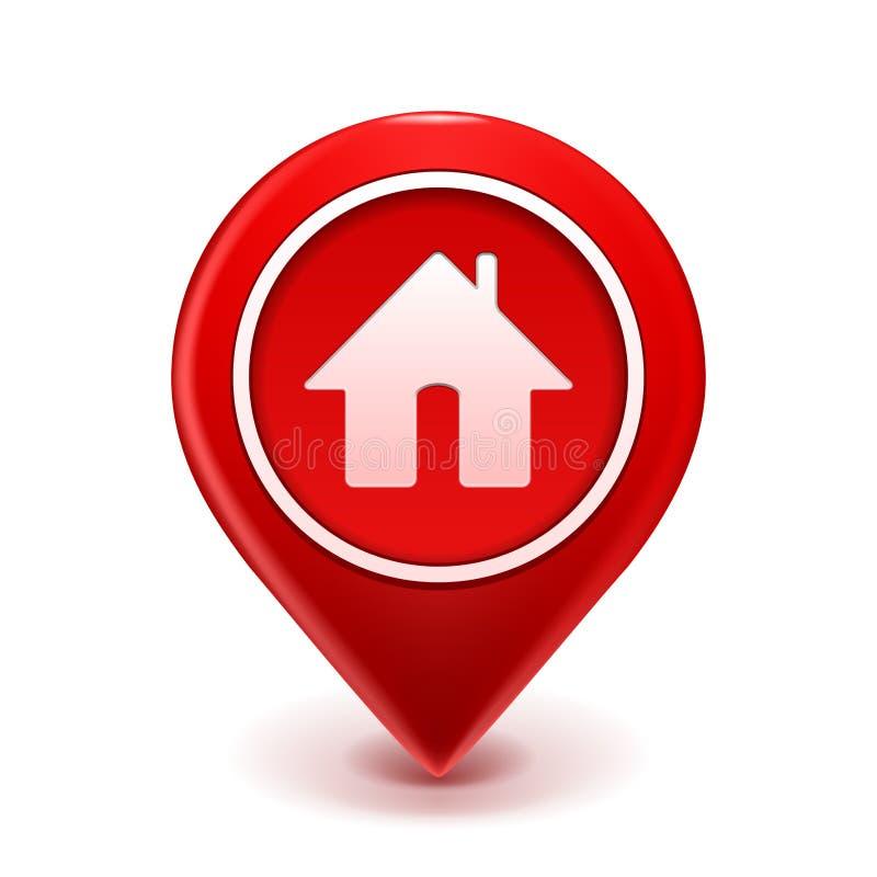 Домашний Pin иконы иллюстрация вектора