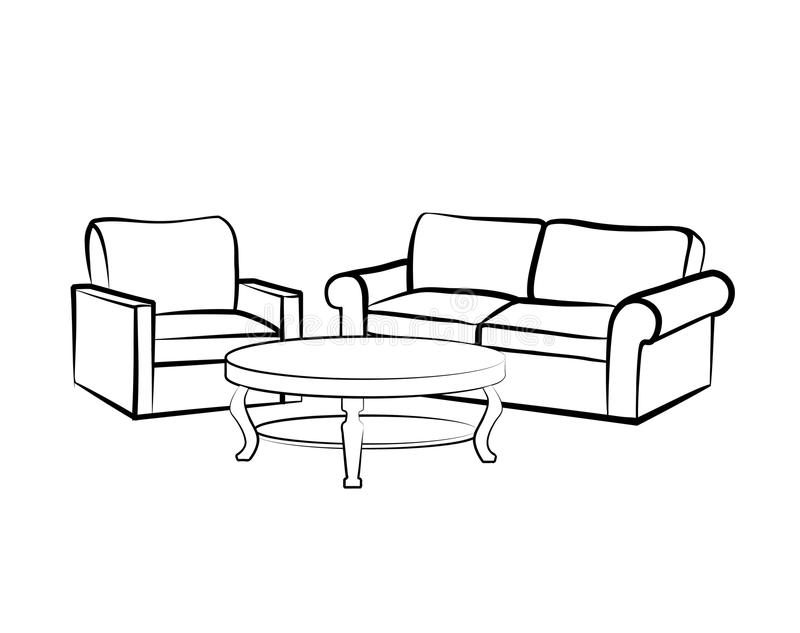 Домашняя внутренняя мебель с креслом, таблицей, софой бесплатная иллюстрация