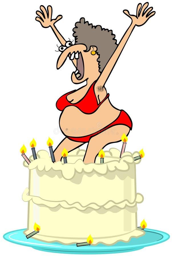 Домашняя девушка скача из торта бесплатная иллюстрация