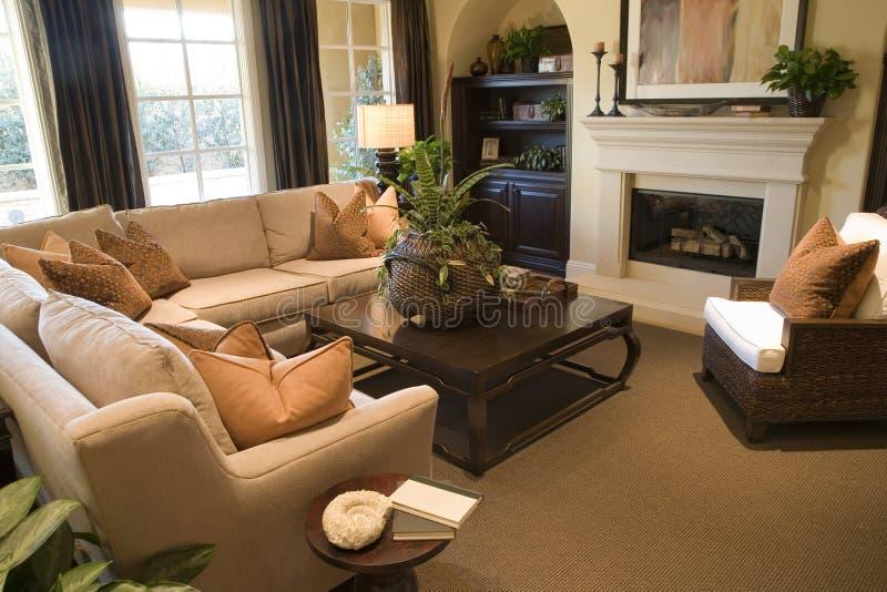 домашняя живущая роскошная комната стоковое изображение