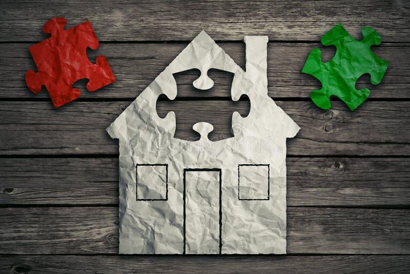 Домашняя концепция ремонта Жилищная отрасль недвижимости стоковые изображения