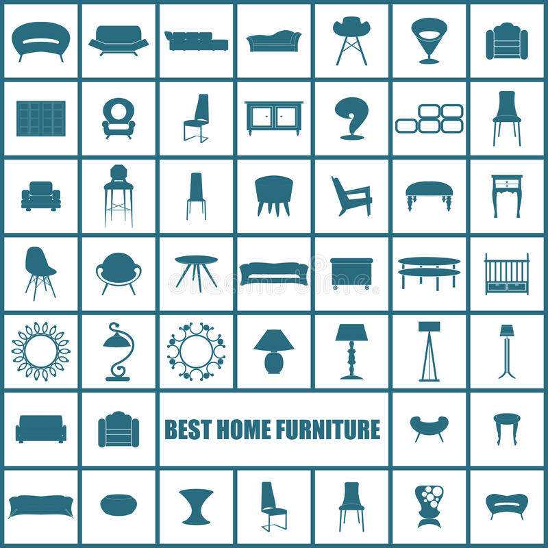 Домашняя мебель, комплект дизайна концепции иллюстраций, вектор иллюстрация вектора