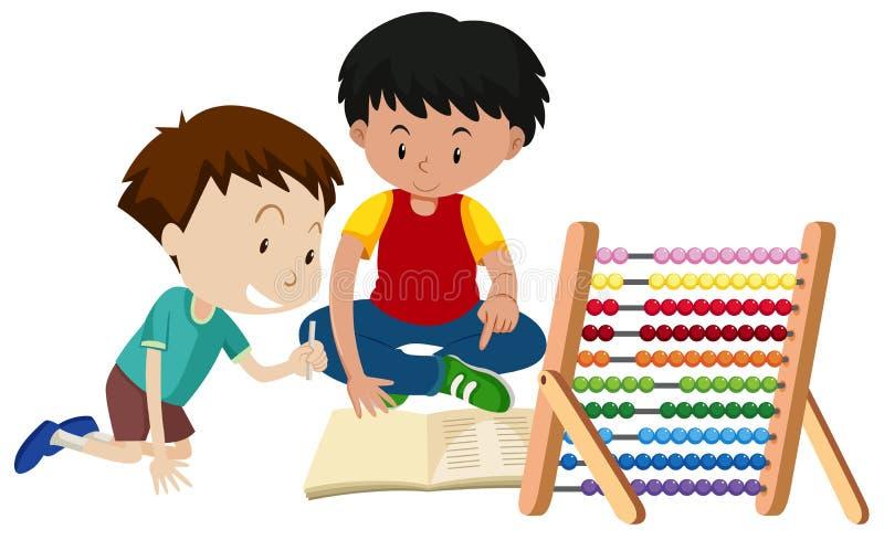 Домашняя работа брата уча с абакусом иллюстрация штока