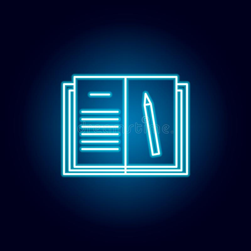 домашняя работа, книга, значок плана карандаша в неоновом стиле элементы линии значка иллюстрации образования знаки, символы можн бесплатная иллюстрация