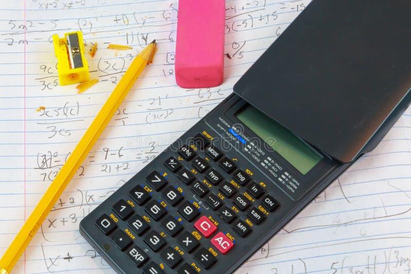 Домашняя работа математики стоковое изображение