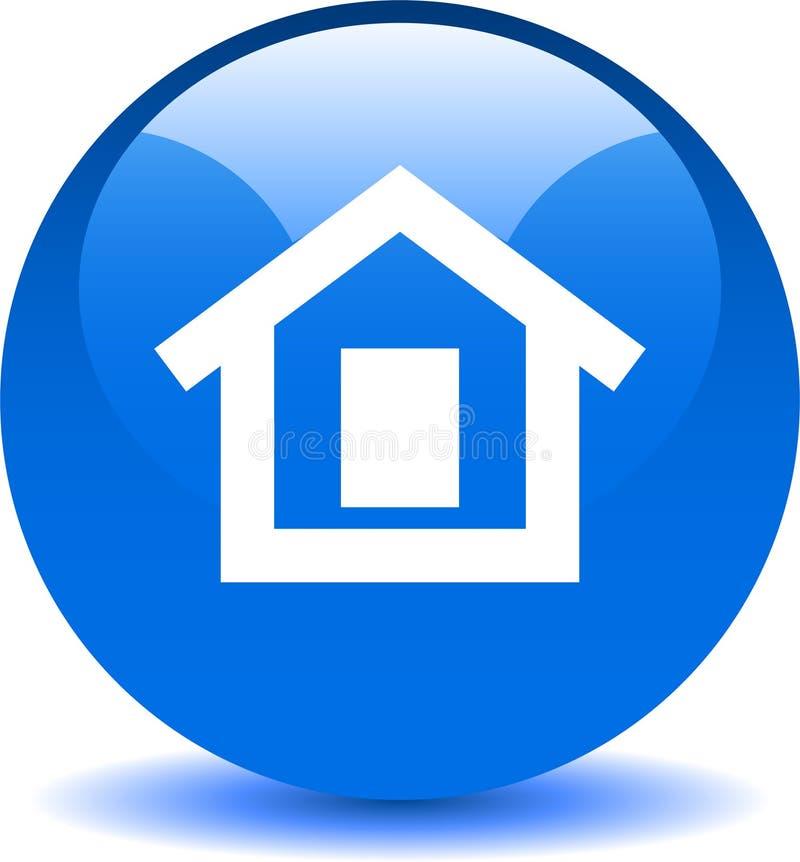 Домашняя синь значка сети кнопки иллюстрация вектора