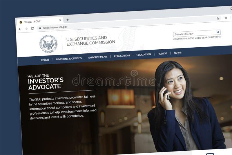 Домашняя страница вебсайта Комиссии по ценным бумагам и биржам или SEC США стоковое фото rf