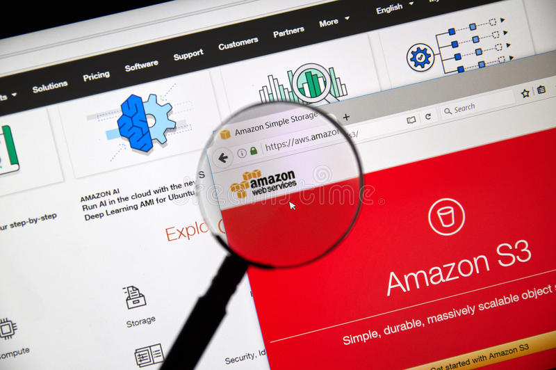 Домашняя страница веб-служб Амазонки стоковое изображение