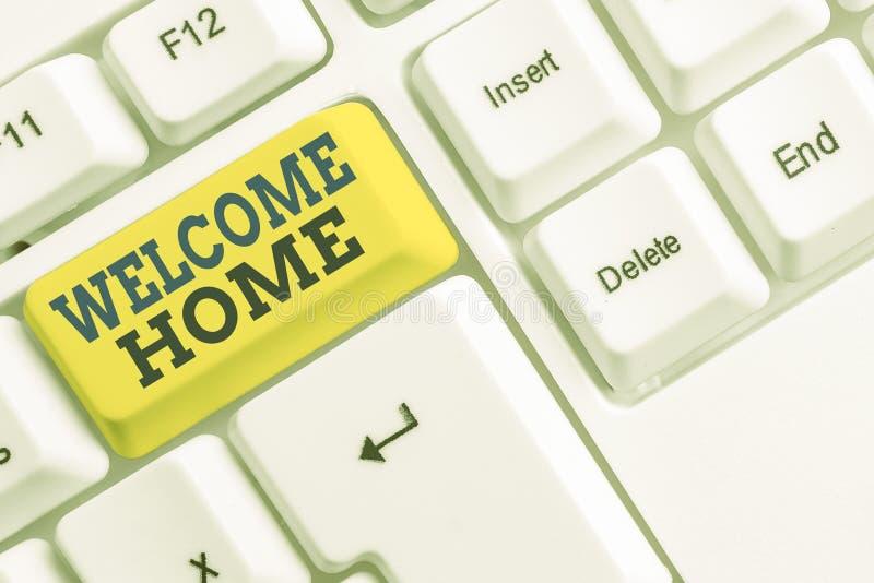 Домашняя страница приветствия текста рукописного ввода Понятие выражение приветствия Новые владельцы Domicile DoSize Запись белый стоковое изображение rf