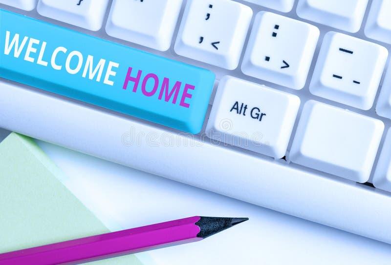 Домашняя страница приветствия текста рукописного ввода Понятие выражение приветствия Новые владельцы Domicile DoSize Запись белый стоковая фотография rf