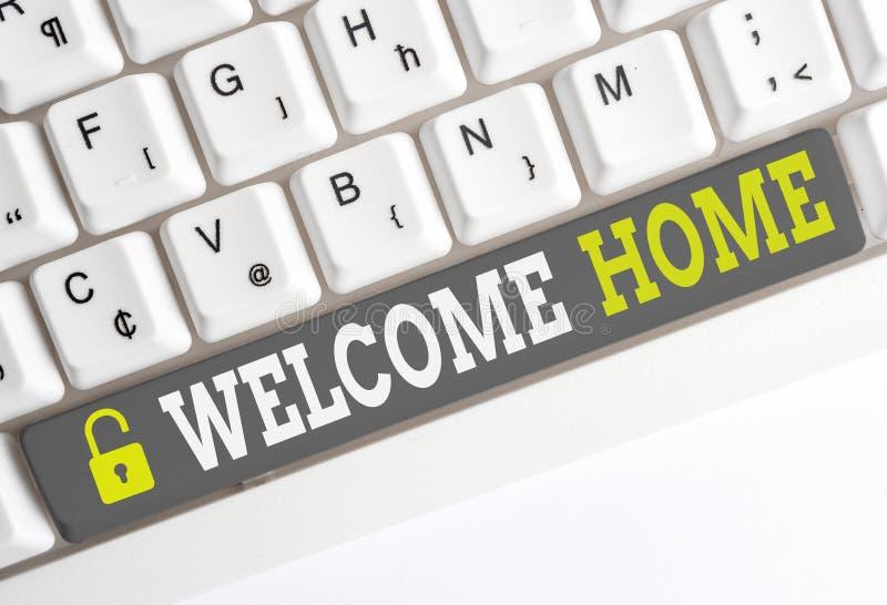 Домашняя страница приветствия текста рукописного ввода Понятие выражение приветствия Новые владельцы Domicile DoSize Запись белый стоковые фото
