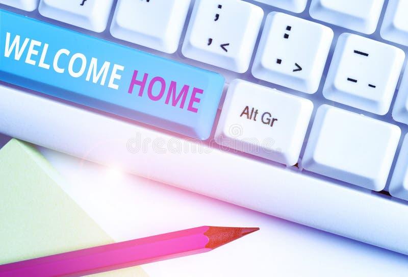 Домашняя страница приветствия текста рукописного ввода Понятие выражение приветствия Новые владельцы Domicile DoSize Запись белый стоковое фото