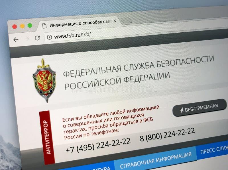 Домашняя страница федеральной службы безопасности Российской Федерации - FSB должностного лица стоковые изображения