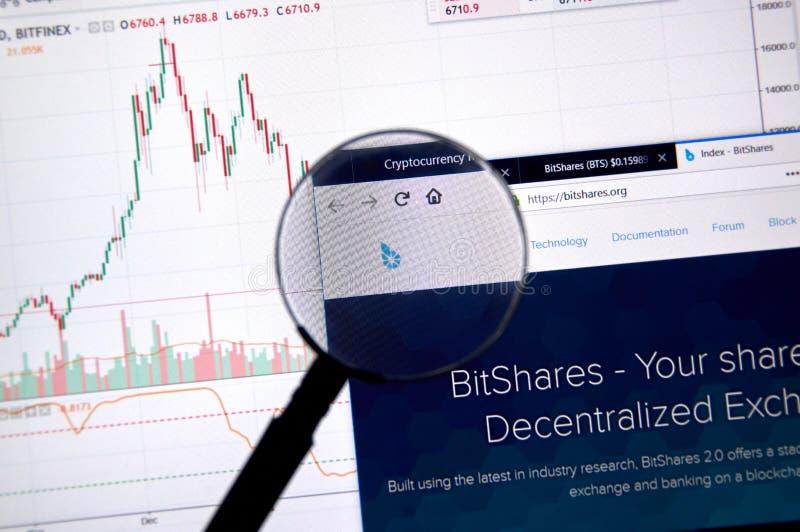 Домашняя страница Bitshares стоковое изображение rf