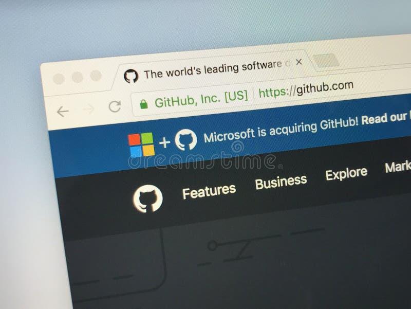 Домашняя страница GitHub Inc стоковое изображение rf
