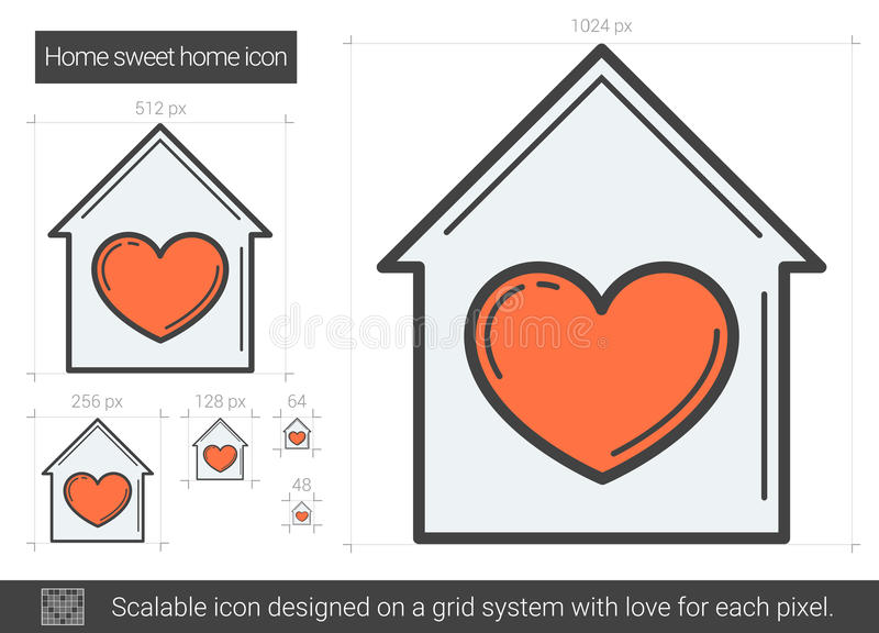 Домашняя сладостная домашняя линия значок бесплатная иллюстрация