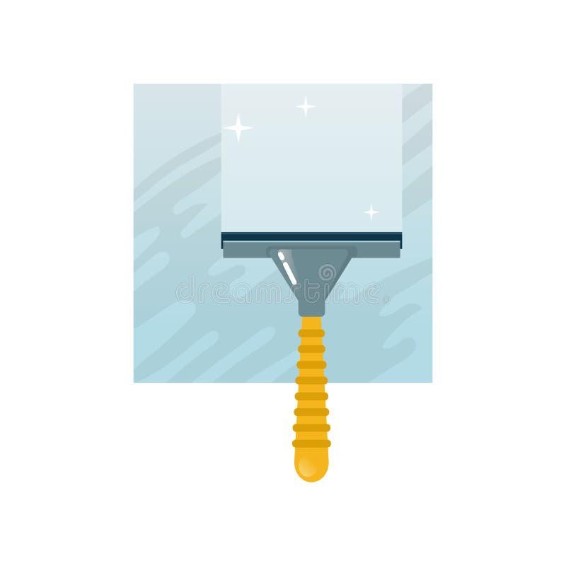 Домашняя чистка с шабером, счищателем лобового стекла, окнами чистки с инструментами иллюстрация штока
