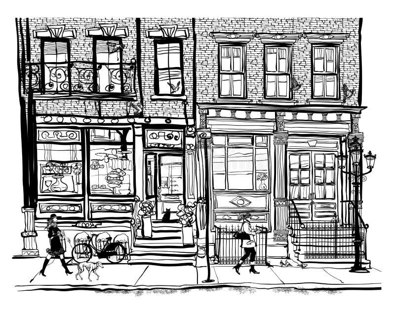 Дома в Гринич-виллидж Нью-Йорке иллюстрация вектора