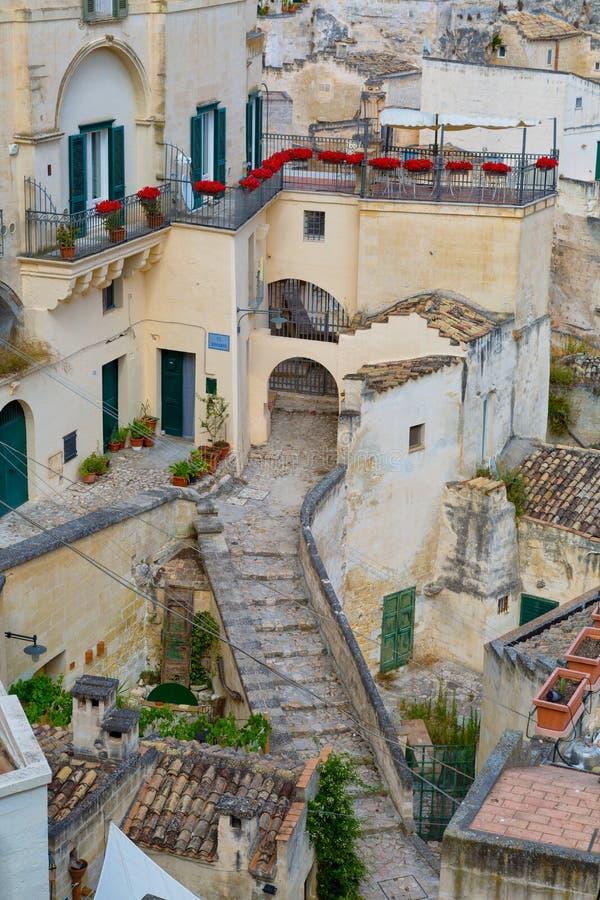 Дома в Матере - итальянский город стоковое фото