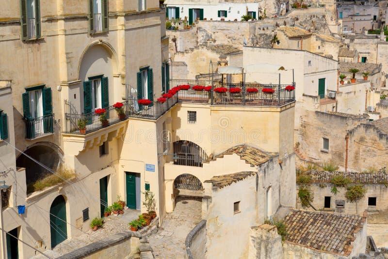 Дома в Матере - итальянский город стоковые фото