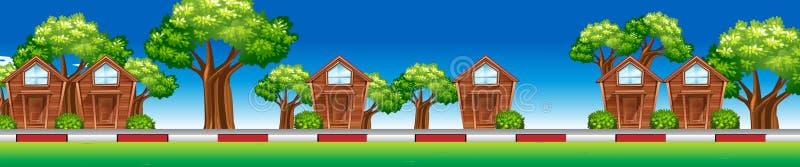 Дома вдоль улицы бесплатная иллюстрация
