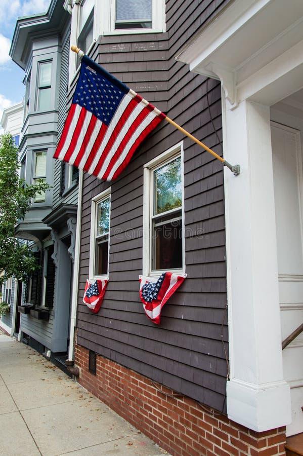 Дома в холме бункера, Charlestown, Бостоне стоковое фото rf
