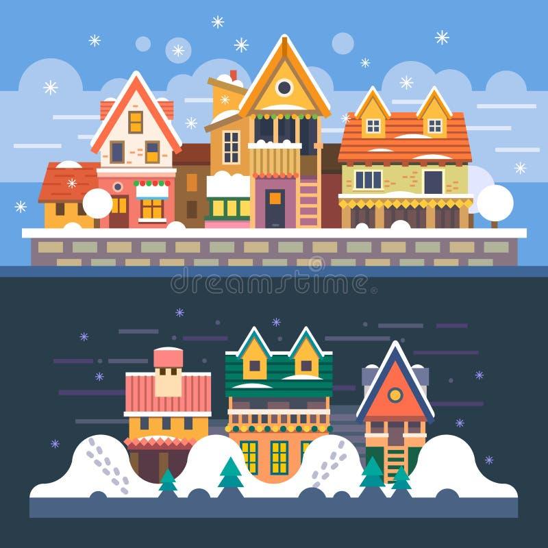 Дома зимы день легкий редактирует ночу для того чтобы vector иллюстрация вектора