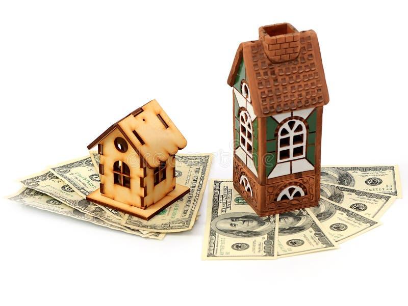 Дома и доллары стоковое изображение rf