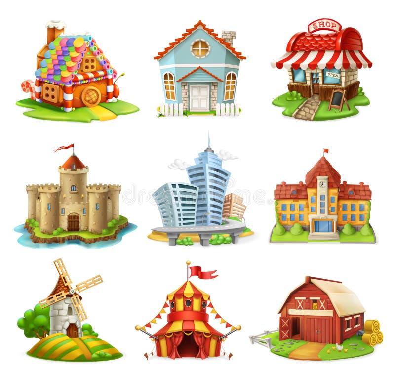Дома и замки Установленные значки вектора зданий иллюстрация вектора
