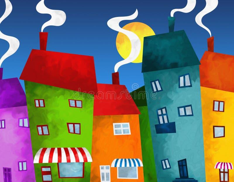 Дома и магазины иллюстрация штока